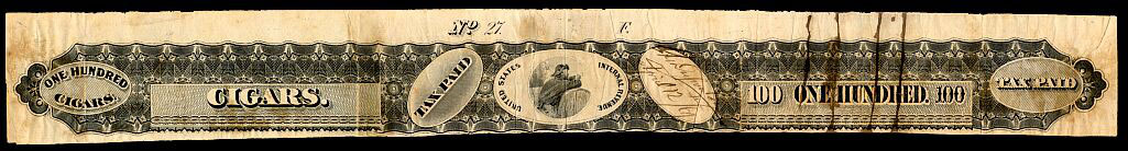 This is what the tax-paid stamp looked like, used on one hundred cigars.